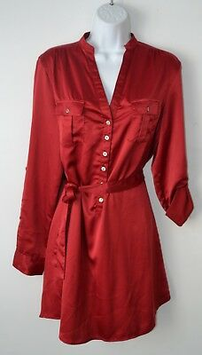 Ya Los Angeles, Shirt Dress, Satin, Tie Waist, Front Pockets, LS, Red, Large