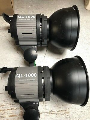 2 X Ql1000 Professional Quartz Lights Studio Video  Dimmable