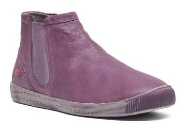 Softinos Inge Womens Leather Casual Chelsea Ankle Boots In Purple Size UK 3 - 8