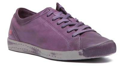 Softinos Isla Women Casual Lace Up Soft Leather Shoes In Purple Size UK 3 - 8