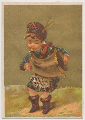 Scottish Boy Plays Horn - Victorian Trade Card 1890's