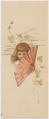 Adorable Little Girl with Fan - Victorian Trade Card 1886
