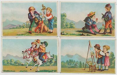 4 Wonderful Children Playing - Victorian Trade Cards from the 1890's