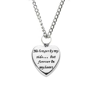 Silver Cremation Pendant for Ashes Funeral Ash Holder Heart Necklace Keepsake