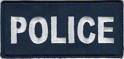 """2"""" x 4 1/2"""" Blue White Police Cops Patch VELCRO® BRAND Hook Fastener Compatible"""