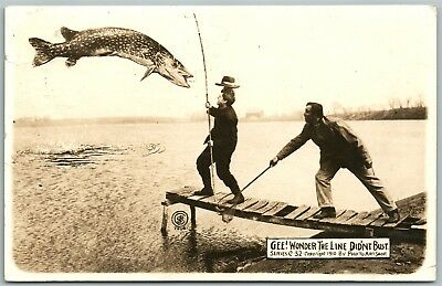 Fishing Exaggerated 1914 Antique Real Photo Postcard Rppc Photomontage
