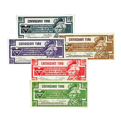 Set of 5 diff. Canada Canadian Tire scrip nice circ.
