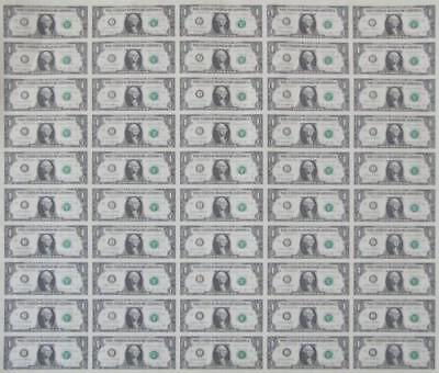 Mint Currency Uncut Sheet 50 x $1 Bill Dollar GEM Federal Reserve Notes