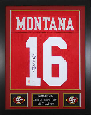 Joe Montana Autographed   Framed Red San Francisco 49ers Jersey JSA COA ... 96130384d