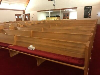25 Solid Oak Wood Church Pews With Pads - 18 Ft Long Each - $100 Each Obo