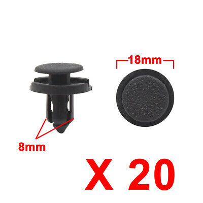 20Pcs 8mm Black Plastic Rivets Trunk Fender Push Type Fasteners Clip for Car