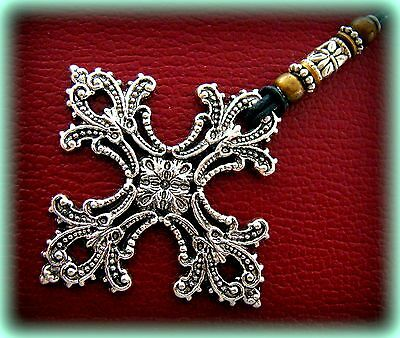 "CROSS Necklace - ANTIQUE ART NOUVEAU STYLE - BYZANTINE MEDIEVAL ""LOOK"""