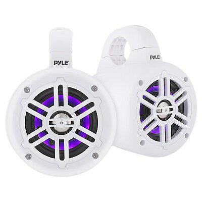 "Pyle White 4"" Waterproof Marine Wakeboard LED Tower Speakers (Pair)"