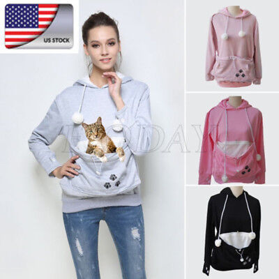 US Women Kangaroo Pet Dog Cat Holder Carrier Velvet Coat Pouch Big Pocket Hoodie
