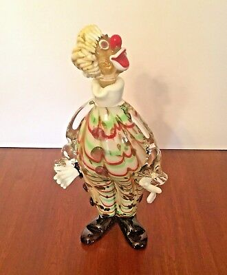 "Murano Italian Hand Blown Clown Empty Decanter With Stopper Vintage 6"" X 12"""