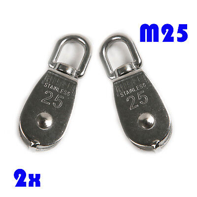 2Pc M25 Swivel Double Pulley Block Swivel Rope Pulley 304 Stainless Steel