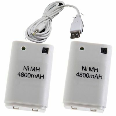 2X For Microsoft Xbox 360 4800mAh Dual Rechargeable Battery Pack with USB Cable