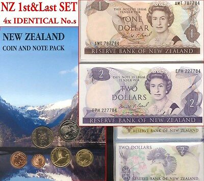 New Zealand Folder SET Last $1&$2 Banknotes Pair + Coins Private Issue Portfolio