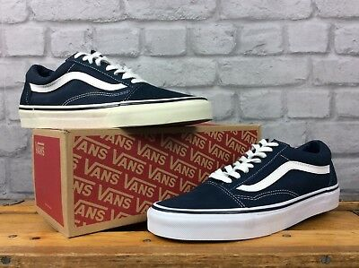 4ff9874bc7f2be VANS MENS UK 9 Eu 43 Navy Blue White Suede Canvas Old Skool Trainers ...