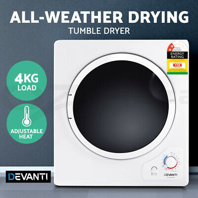 Devanti 4kg Clothes Dryer Tumble Dryer Machine Air Vented Front Load Wall Mount