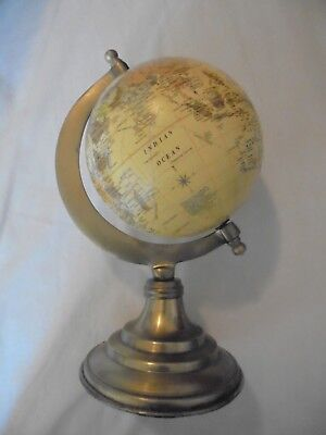 """Vintage Small World Globe On Brass Metal Stand 9.5"""""""