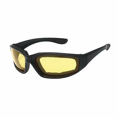 Black goggles sunglasses bikers motorcycle driving wraparound padded foam