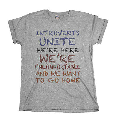 Introverts Unite Funny Mens T-Shirt Small Group Nerd Geek Ladies Birthday Top