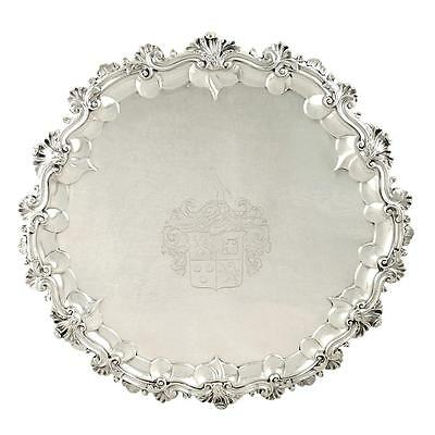 """Heavy Antique William Iv Sterling Silver 16"""" Tray/salver - 1834"""