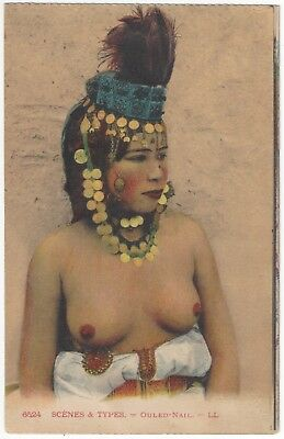 1910 Ethnic NUDE Postcard - Beautiful Youthful Algerian Woman Adorned in Jewelry