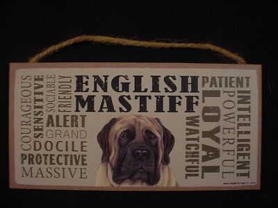 MASTIFF Subway Style DOG SIGN wood WALL HANGING PLAQUE English puppy USA MADE