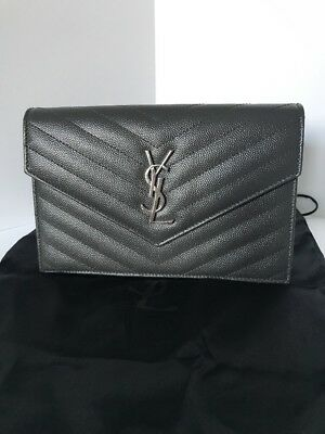 7baa2f31d6 Authentic Yves Saint Laurent Ysl Monogram Chain Wallet Cross Body Bag Grey  ❤ ❤️