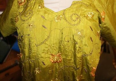 Ladies Vintage 1960s 1970s Embroidered Silk Tunic India Hippie Chartreuse