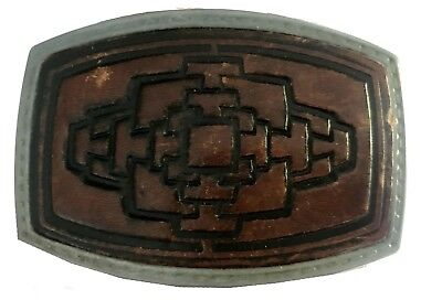 Vtg Leather Belt Buckle Inlay 1970s Brown Distressed Western Style Mens Tooled