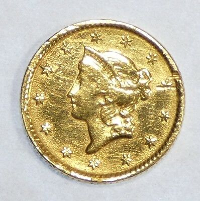 BARGAIN Ty-1  GOLD $1 Coin VERY FINE ~ Ex-Jewelry Gold Coin