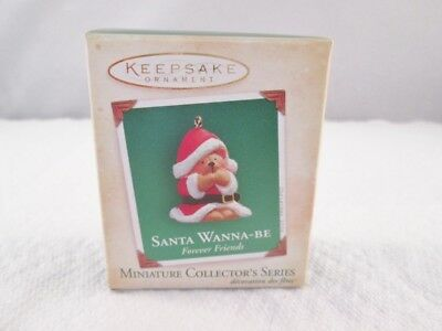 2004 Hallmark Miniature Ornament FOREVER FRIENDS #1 Santa Wanna-Be Teddy Bear