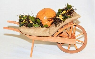 Byers Choice Harvest Wooden Wagon w/ Fall Pumpkin Flowers - New - FREE SHIPPING