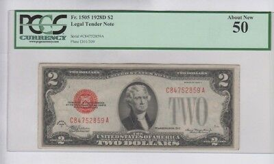 Legal Tender $2 Red Seal 1928-D PCGS graded about new 50