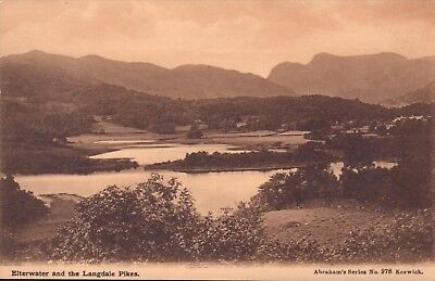 early 1900s postcard - elterwater & the langdale pikes .abrahams series 978