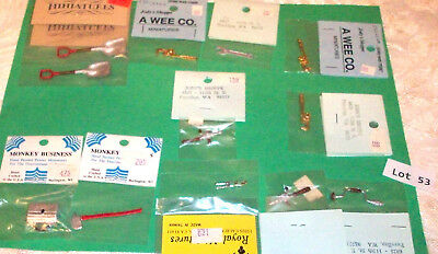 Lot 53 - Dollhouse Miniatures, Small Hand Tools, 2 Pewter (1990's MSRP $21.38)