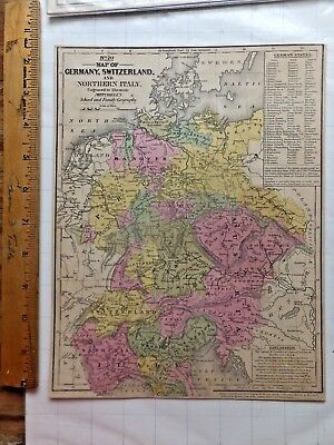 1848 Mitchell Atlas Color Map - Germany, Switzerland, No.Italy.  8 1/4 x 10 1/4