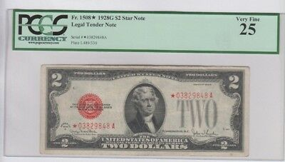 Legal Tender $2 Red Seal 1928-G STAR PCGS graded very fine 25