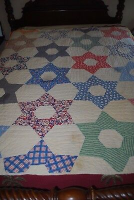 "Vintage Antique Hand Sewn Hand Quilted Patchwork STAR Quilt 64"" X 73"" TWIN"