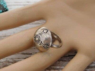 Vintage Early Century Navajo AUSTIN WILSON Sterling Silver Dome Ring RARE SIGNED