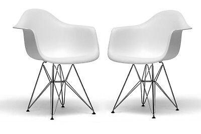 Set Of 2 White Eiffel Eames Style Shell Dining Arm Chairs Wire Leg Steel Base
