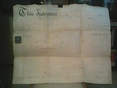 """Large Antique English 22 1/2"""" X 27"""" Indenture Made On Vellum Dated July 5, 1816"""