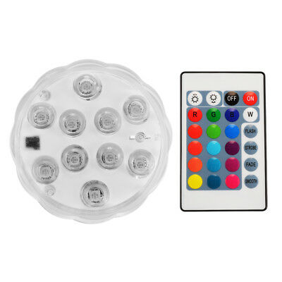Battery Powered 10-LED RGB Waterproof Submersible Lights with Remote Controller