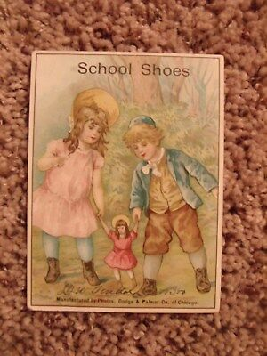 Vintage Victorian Trading Card School Shoes Phelphs,more Chicago Boy, Girl Doll