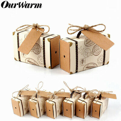 10/50PCS Wedding Favor Mini Suitcase Gift Box Kraft Candy Boxes Party Supply New