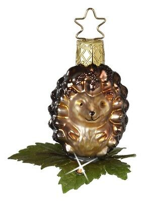 Inge Glas Swarovski Baby Hedgehog Mouth Blown Glass German Christmas Ornament