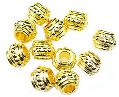 7x13m 25 GOLD METAL BEADS 5mm hole CLEARANCE -